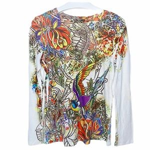NEXT ERA COUTURE Colorful Graphic Long Sleeve Top